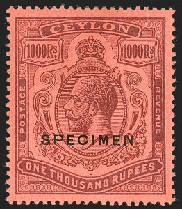 Sale Number 1194, Lot Number 2231, Cayman Islands thru CeylonCEYLON, 1925, 1,000r Violet on Red, Broken Crown & Scroll, Specimen Overprint (218S var; SG 323bs), CEYLON, 1925, 1,000r Violet on Red, Broken Crown & Scroll, Specimen Overprint (218S var; SG 323bs)