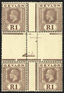Sale Number 1194, Lot Number 2234, Cayman Islands thru CeylonCEYLON, 1921, 1r Violet on Yellow, Dies I and II (241/241a; SG 354b), CEYLON, 1921, 1r Violet on Yellow, Dies I and II (241/241a; SG 354b)