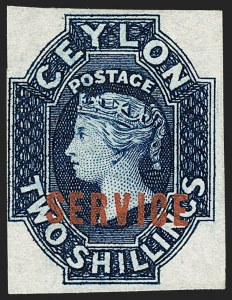 Sale Number 1194, Lot Number 2236, Cayman Islands thru CeylonCEYLON, 1869, 2sh Blue, Official, Imperforate (O7a; SG O5a), CEYLON, 1869, 2sh Blue, Official, Imperforate (O7a; SG O5a)