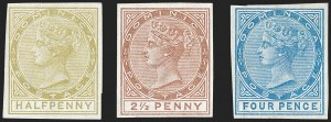 Sale Number 1194, Lot Number 2250, Cyprus thru DominicaDOMINICA, 1879, -1/2p Bister, 2-1/2p Red Brown, 4p Blue, Imprimaturs (4, 6, 7 vars; SG 4, 6, 7 vars), DOMINICA, 1879, -1/2p Bister, 2-1/2p Red Brown, 4p Blue, Imprimaturs (4, 6, 7 vars; SG 4, 6, 7 vars)