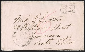 "Sale Number 1194, Lot Number 2251, Falkland Islands thru GibraltarFALKLAND ISLANDS, 1869, ""Falkland Paid Islands"" Black Frank (SG FR1), FALKLAND ISLANDS, 1869, ""Falkland Paid Islands"" Black Frank (SG FR1)"