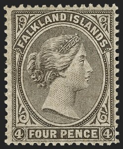 Sale Number 1194, Lot Number 2252, Falkland Islands thru GibraltarFALKLAND ISLANDS, 1879, 4p Dark Gray (2; SG 2), FALKLAND ISLANDS, 1879, 4p Dark Gray (2; SG 2)