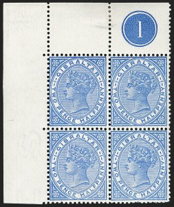 Sale Number 1194, Lot Number 2258, Falkland Islands thru GibraltarGIBRALTAR, 1898, 2-1/2p Bright Ultramarine, Inverted Watermark (14 var; SG 42w), GIBRALTAR, 1898, 2-1/2p Bright Ultramarine, Inverted Watermark (14 var; SG 42w)