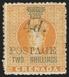 "Sale Number 1194, Lot Number 2268, Gilbert & Ellice Islands thru Hong KongGRENADA, 1888, 4p on 2sh Orange, Wide Space Between ""TWO"" and ""SHILLINGS"" (SG 42a), GRENADA, 1888, 4p on 2sh Orange, Wide Space Between ""TWO"" and ""SHILLINGS"" (SG 42a)"
