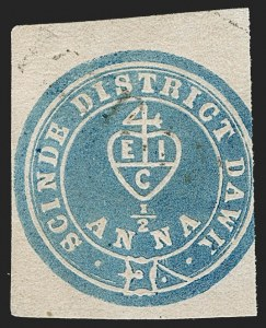 "Sale Number 1194, Lot Number 2273, India & Indian StatesINDIA, 1852, -1/2a Blue, ""Scinde Dawk"" (SG S2; Scott A2), INDIA, 1852, -1/2a Blue, ""Scinde Dawk"" (SG S2; Scott A2)"