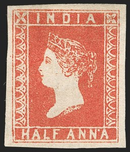 Sale Number 1194, Lot Number 2274, India & Indian StatesINDIA, 1854, -1/2a Deep Vermilion, 9-1/2 Arches (SG 1a; Scott 1), INDIA, 1854, -1/2a Deep Vermilion, 9-1/2 Arches (SG 1a; Scott 1)