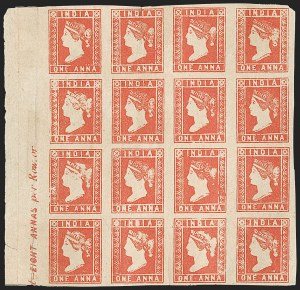 Sale Number 1194, Lot Number 2275, India & Indian StatesINDIA, 1854, 1a Deep Red, Die II (SG 13; Scott 4 var), INDIA, 1854, 1a Deep Red, Die II (SG 13; Scott 4 var)