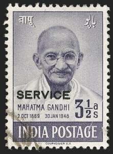Sale Number 1194, Lot Number 2277, India & Indian StatesINDIA, 1948, 3-1/2a Gandhi, Official (SG O150b; Scott O112B), INDIA, 1948, 3-1/2a Gandhi, Official (SG O150b; Scott O112B)