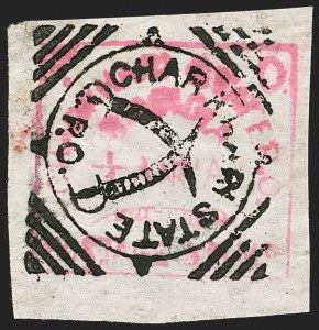 Sale Number 1194, Lot Number 2284, India & Indian StatesINDIA, Charkhari, 1897, -1/4a Rose (3A; SG 1), INDIA, Charkhari, 1897, -1/4a Rose (3A; SG 1)