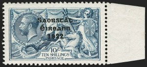 Sale Number 1194, Lot Number 2303, Ireland thru KuwaitIRELAND, 1922, 10sh Gray Blue Seahorse, Bradbury Wilkinson Printing, Accent Reversed (58 var; SG 66b), IRELAND, 1922, 10sh Gray Blue Seahorse, Bradbury Wilkinson Printing, Accent Reversed (58 var; SG 66b)
