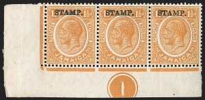 "Sale Number 1194, Lot Number 2306, Ireland thru KuwaitJAMAICA, 1917, 1-1/2p Orange, War Tax, ""War"" Omitted (MR8 var; SG 74 var), JAMAICA, 1917, 1-1/2p Orange, War Tax, ""War"" Omitted (MR8 var; SG 74 var)"