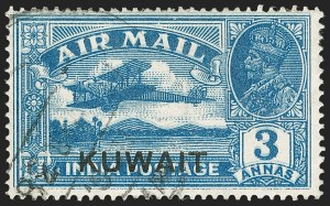 Sale Number 1194, Lot Number 2325, Ireland thru KuwaitKUWAIT, 1933, 3a Deep Blue, Air Post, Double Impression (C2 var; SG 32 Footnote), KUWAIT, 1933, 3a Deep Blue, Air Post, Double Impression (C2 var; SG 32 Footnote)