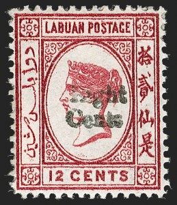 Sale Number 1194, Lot Number 2327, Labuan thru Leeward IslandsLABUAN, 1881, 8c on 12c Carmine, Double Surcharge, Missing Right Foot in Second Chinese Character (14c var; SG 15a var), LABUAN, 1881, 8c on 12c Carmine, Double Surcharge, Missing Right Foot in Second Chinese Character (14c var; SG 15a var)