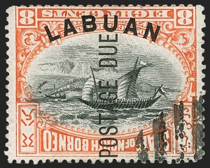 Sale Number 1194, Lot Number 2328, Labuan thru Leeward IslandsLABUAN, 1901, 8c Red & Black, Postage Due, Frame Inverted (J6a; SG D6ba), LABUAN, 1901, 8c Red & Black, Postage Due, Frame Inverted (J6a; SG D6ba)