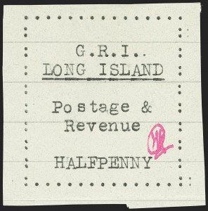 Sale Number 1194, Lot Number 2332, Long IslandLONG ISLAND, 1916, -1/2p Black on Pale Green Horizontal Lined Paper (SG 4), LONG ISLAND, 1916, -1/2p Black on Pale Green Horizontal Lined Paper (SG 4)