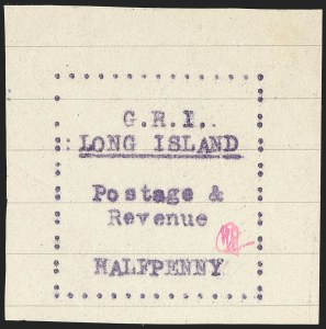Sale Number 1194, Lot Number 2333, Long IslandLONG ISLAND, 1916, -1/2p Mauve on Pale Green Horizontal Lined Paper (SG 6), LONG ISLAND, 1916, -1/2p Mauve on Pale Green Horizontal Lined Paper (SG 6)