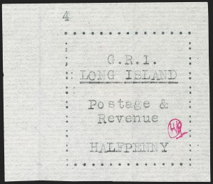 Sale Number 1194, Lot Number 2334, Long IslandLONG ISLAND, 1916, -1/2p Black on Thin Horizontally Laid Paper (SG 7), LONG ISLAND, 1916, -1/2p Black on Thin Horizontally Laid Paper (SG 7)