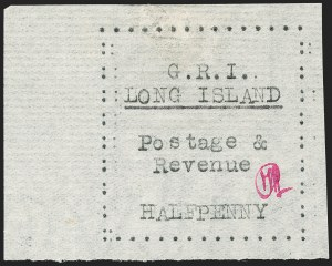 Sale Number 1194, Lot Number 2335, Long IslandLONG ISLAND, 1916, -1/2p Black on Thin Horizontally Laid Paper (SG 7), LONG ISLAND, 1916, -1/2p Black on Thin Horizontally Laid Paper (SG 7)