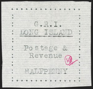 Sale Number 1194, Lot Number 2336, Long IslandLONG ISLAND, 1916, -1/2p Black on Thin Horizontally Laid Paper (SG 7), LONG ISLAND, 1916, -1/2p Black on Thin Horizontally Laid Paper (SG 7)