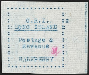 Sale Number 1194, Lot Number 2337, Long IslandLONG ISLAND, 1916, -1/2p Blue on Thin Horizontally Laid Paper (SG 8), LONG ISLAND, 1916, -1/2p Blue on Thin Horizontally Laid Paper (SG 8)