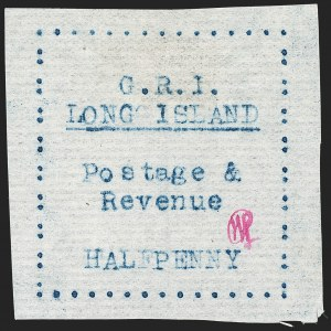 Sale Number 1194, Lot Number 2338, Long IslandLONG ISLAND, 1916, -1/2p Blue on Thin Horizontally Laid Paper (SG 8), LONG ISLAND, 1916, -1/2p Blue on Thin Horizontally Laid Paper (SG 8)