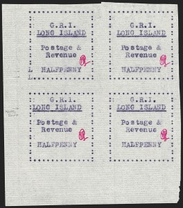 Sale Number 1194, Lot Number 2341, Long IslandLONG ISLAND, 1916, -1/2p Mauve on Thin Horizontally Laid Paper (SG 9), LONG ISLAND, 1916, -1/2p Mauve on Thin Horizontally Laid Paper (SG 9)