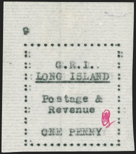 Sale Number 1194, Lot Number 2343, Long IslandLONG ISLAND, 1916, 1p Black on Thin Horizontally Laid Paper (SG 10), LONG ISLAND, 1916, 1p Black on Thin Horizontally Laid Paper (SG 10)