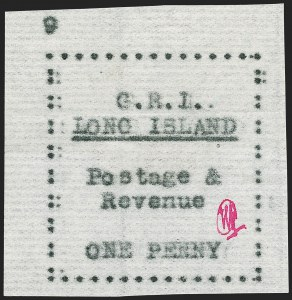 Sale Number 1194, Lot Number 2344, Long IslandLONG ISLAND, 1916, 1p Black on Thin Horizontally Laid Paper (SG 10), LONG ISLAND, 1916, 1p Black on Thin Horizontally Laid Paper (SG 10)