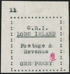 Sale Number 1194, Lot Number 2345, Long IslandLONG ISLAND, 1916, 1p Black on Thin Horizontally Laid Paper (SG 10), LONG ISLAND, 1916, 1p Black on Thin Horizontally Laid Paper (SG 10)