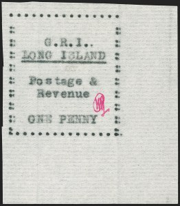 Sale Number 1194, Lot Number 2346, Long IslandLONG ISLAND, 1916, 1p Black on Thin Horizontally Laid Paper (SG 10), LONG ISLAND, 1916, 1p Black on Thin Horizontally Laid Paper (SG 10)