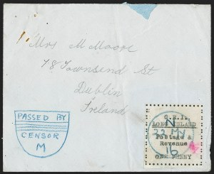 Sale Number 1194, Lot Number 2347, Long IslandLONG ISLAND, 1916, 1p Black on Thin Horizontally Laid Paper (SG 10), LONG ISLAND, 1916, 1p Black on Thin Horizontally Laid Paper (SG 10)