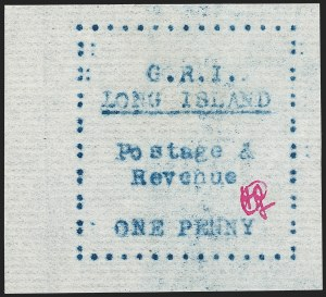 Sale Number 1194, Lot Number 2349, Long IslandLONG ISLAND, 1916, 1p Blue on Thin Horizontally Laid Paper (SG 11), LONG ISLAND, 1916, 1p Blue on Thin Horizontally Laid Paper (SG 11)