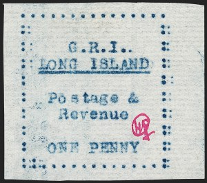 Sale Number 1194, Lot Number 2351, Long IslandLONG ISLAND, 1916, 1p Blue on Thin Horizontally Laid Paper (SG 11), LONG ISLAND, 1916, 1p Blue on Thin Horizontally Laid Paper (SG 11)
