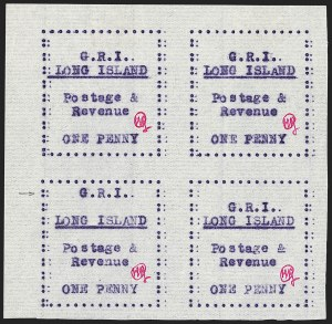 "Sale Number 1194, Lot Number 2355, Long IslandLONG ISLAND, 1916, 1p Mauve on Thin Horizontally Laid Paper, ""G.R.I."" Shifted Upwards (SG 12 var), LONG ISLAND, 1916, 1p Mauve on Thin Horizontally Laid Paper, ""G.R.I."" Shifted Upwards (SG 12 var)"