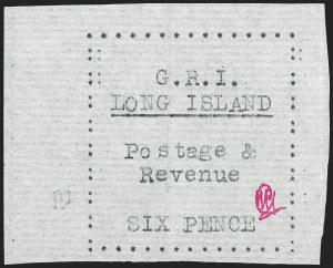 Sale Number 1194, Lot Number 2362, Long IslandLONG ISLAND, 1916, 6p Black on Thin Horizontally Laid Paper (SG 17), LONG ISLAND, 1916, 6p Black on Thin Horizontally Laid Paper (SG 17)