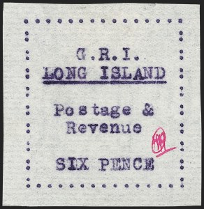 Sale Number 1194, Lot Number 2364, Long IslandLONG ISLAND, 1916, 6p Mauve on Thin Horizontally Laid Paper (SG 19), LONG ISLAND, 1916, 6p Mauve on Thin Horizontally Laid Paper (SG 19)