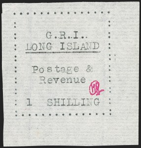Sale Number 1194, Lot Number 2366, Long IslandLONG ISLAND, 1916, 1sh Black on Thin Horizontally Laid Paper (SG 20), LONG ISLAND, 1916, 1sh Black on Thin Horizontally Laid Paper (SG 20)