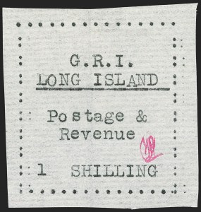 Sale Number 1194, Lot Number 2367, Long IslandLONG ISLAND, 1916, 1sh Black on Thin Horizontally Laid Paper (SG 20), LONG ISLAND, 1916, 1sh Black on Thin Horizontally Laid Paper (SG 20)