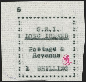 Sale Number 1194, Lot Number 2368, Long IslandLONG ISLAND, 1916, 1sh Black on Thin Horizontally Laid Paper (SG 20), LONG ISLAND, 1916, 1sh Black on Thin Horizontally Laid Paper (SG 20)
