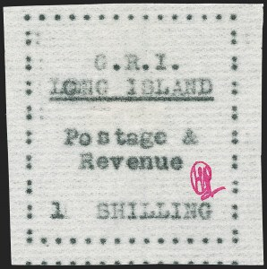 "Sale Number 1194, Lot Number 2369, Long IslandLONG ISLAND, 1916, 1sh Black on Thin Horizontally Laid Paper, Double ""L"" of ""Long"" Error (SG 20 var), LONG ISLAND, 1916, 1sh Black on Thin Horizontally Laid Paper, Double ""L"" of ""Long"" Error (SG 20 var)"