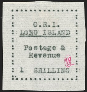 Sale Number 1194, Lot Number 2370, Long IslandLONG ISLAND, 1916, 1sh Black on Thin Horizontally Laid Paper (SG 20), LONG ISLAND, 1916, 1sh Black on Thin Horizontally Laid Paper (SG 20)