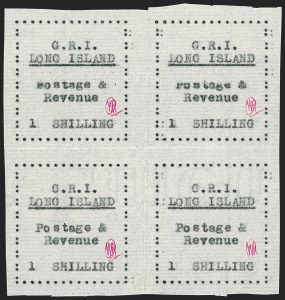 Sale Number 1194, Lot Number 2371, Long IslandLONG ISLAND, 1916, 1sh Black on Thin Horizontally Laid Paper (SG 20), LONG ISLAND, 1916, 1sh Black on Thin Horizontally Laid Paper (SG 20)