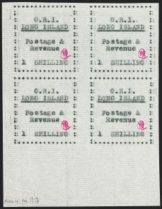 Sale Number 1194, Lot Number 2372, Long IslandLONG ISLAND, 1916, 1sh Black on Thin Horizontally Laid Paper (SG 20), LONG ISLAND, 1916, 1sh Black on Thin Horizontally Laid Paper (SG 20)