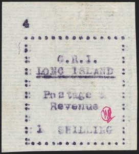 Sale Number 1194, Lot Number 2373, Long IslandLONG ISLAND, 1916, 1sh Mauve on Thin Horizontally Laid Paper (SG 22), LONG ISLAND, 1916, 1sh Mauve on Thin Horizontally Laid Paper (SG 22)