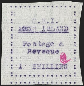 "Sale Number 1194, Lot Number 2374, Long IslandLONG ISLAND, 1916, 1sh Mauve on Thin Horizontally Laid Paper, Double ""L"" of ""Long"" Error (SG 22 var), LONG ISLAND, 1916, 1sh Mauve on Thin Horizontally Laid Paper, Double ""L"" of ""Long"" Error (SG 22 var)"
