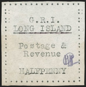 Sale Number 1194, Lot Number 2379, Long IslandLONG ISLAND, 1916, -1/2p Black on Thin Wove Paper (SG 23), LONG ISLAND, 1916, -1/2p Black on Thin Wove Paper (SG 23)