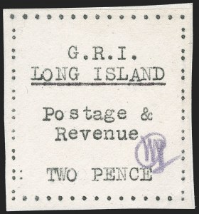 Sale Number 1194, Lot Number 2385, Long IslandLONG ISLAND, 1916, 2p Black on Thin Wove Paper (SG 30), LONG ISLAND, 1916, 2p Black on Thin Wove Paper (SG 30)