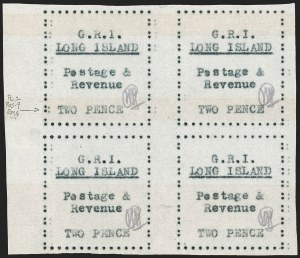 "Sale Number 1194, Lot Number 2386, Long IslandLONG ISLAND, 1916, 2p Black on Thin Wove Paper, Shifted ""Two Pence"" (SG 30 var), LONG ISLAND, 1916, 2p Black on Thin Wove Paper, Shifted ""Two Pence"" (SG 30 var)"
