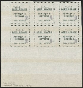 "Sale Number 1194, Lot Number 2387, Long IslandLONG ISLAND, 1916, 2p Black on Thin Wove Paper, Shifted ""G.R.I"" and Double ""L"" of ""Long"" Error (SG 30 var), LONG ISLAND, 1916, 2p Black on Thin Wove Paper, Shifted ""G.R.I"" and Double ""L"" of ""Long"" Error (SG 30 var)"