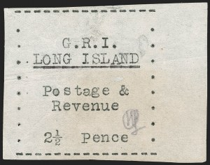 Sale Number 1194, Lot Number 2390, Long IslandLONG ISLAND, 1916, 2-1/2p Black on Thin Wove Paper (SG 32), LONG ISLAND, 1916, 2-1/2p Black on Thin Wove Paper (SG 32)
